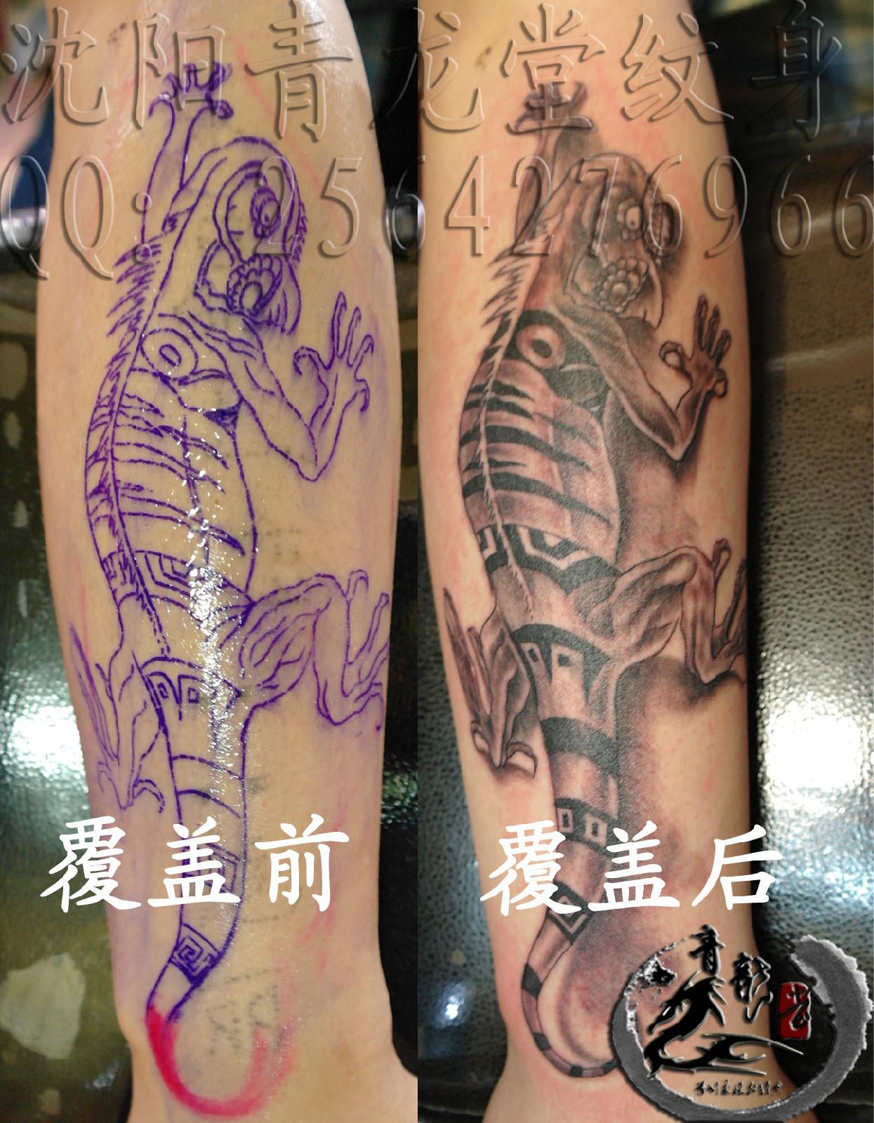 包腿纹身黑白无常:小腿包腿般若纹身:小腿包腿般若图片