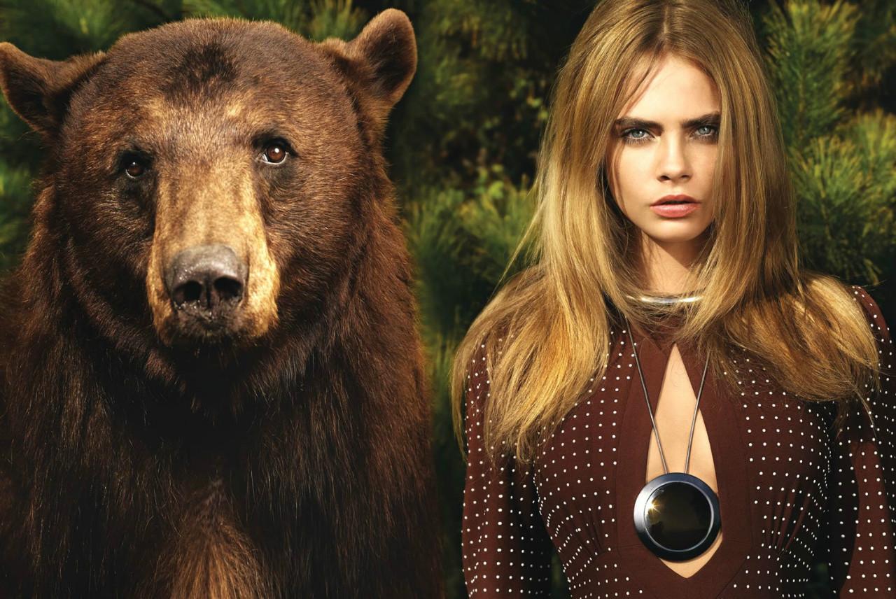 时尚大片:美女与野兽 超模cara性感妩媚与熊拍摄