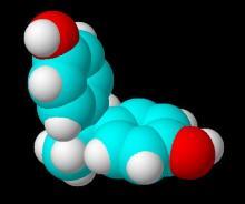 双酚A分子的空间填充模型