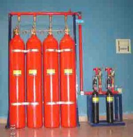 ig541混合气体灭火系统包括:灭火瓶组,高压软管,灭火剂单向阀,启动瓶图片