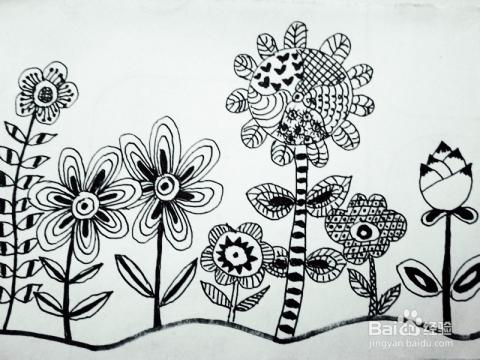 简单的黑白花朵画-简单的铅笔画花朵图案/简单的素描画花朵/简单的