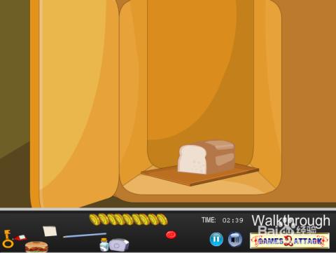 打开壁橱左面的门,得到面包.