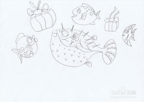 圣诞树礼物简笔画