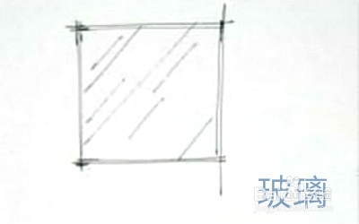 在要表现玻璃材质的图形里画一些穿插的横线,大概与物体形成45°角图片