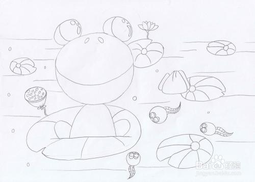 小青蛙找妈妈简笔图片_小青蛙简笔画动物简笔画查字典板报网