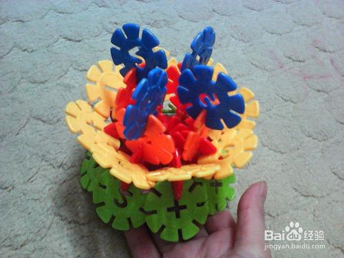 雪花片拼牡丹花的方法高清图片