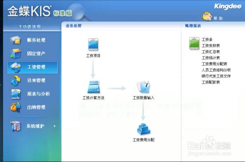 唐卡财务软件录入教程进行和v教程金蝶工资画图片