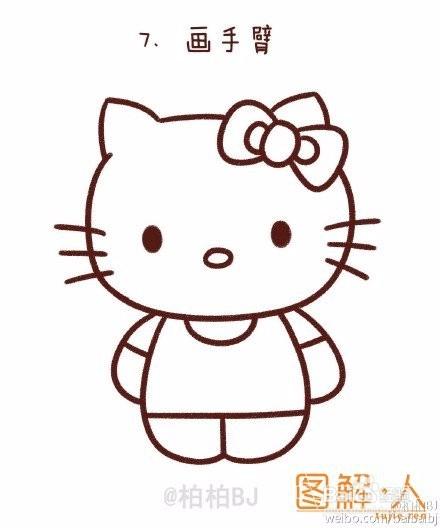 hello kitty凯蒂猫简笔画图解教程图片