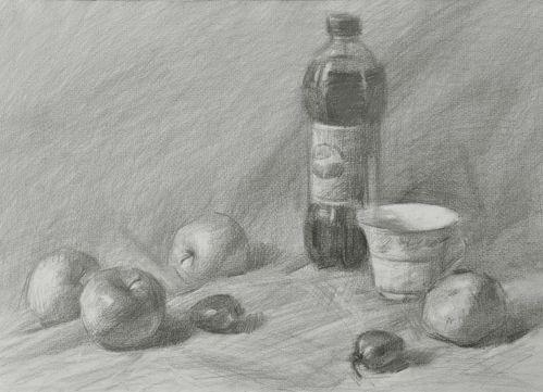瓶可乐静物组合素描写生的方法图片