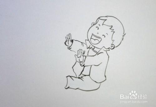 注意竖立的手掌,五指之间稍有变化.图片