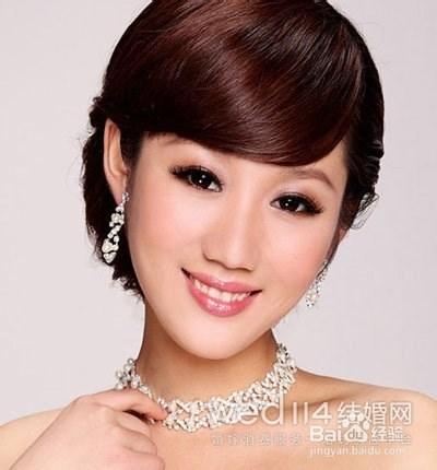 韩式短发新娘发型步骤图片