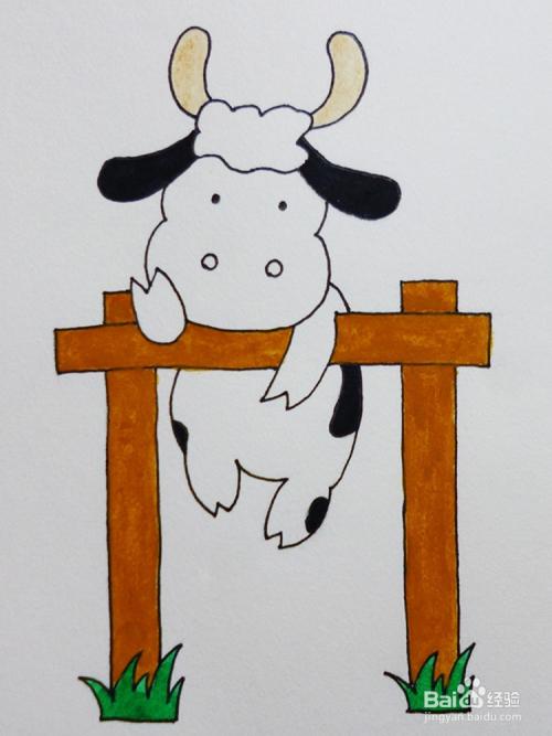 儿童简笔画教程之动物翻越栅栏的奶牛步骤教学