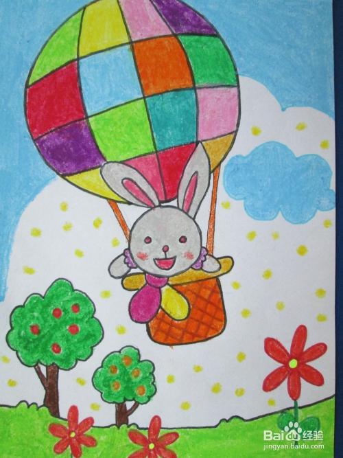 我们来学油画棒:[9]坐上气球去旅行图片