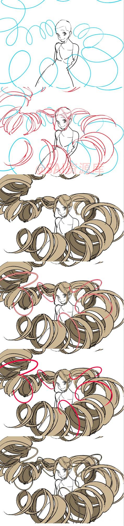 关于动漫发型分解的画法参考