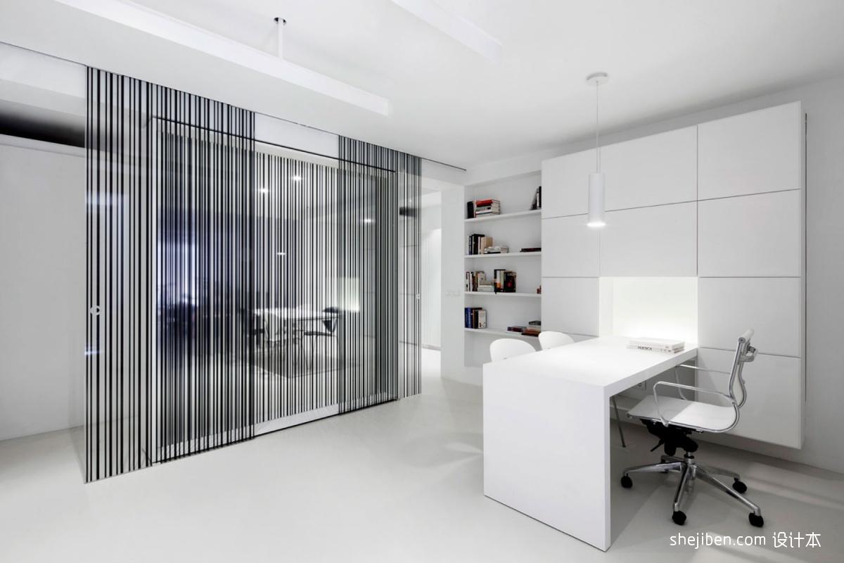 2013现代风格别墅豪华餐厅连书房书柜书桌椅子书架装修效果高清图片
