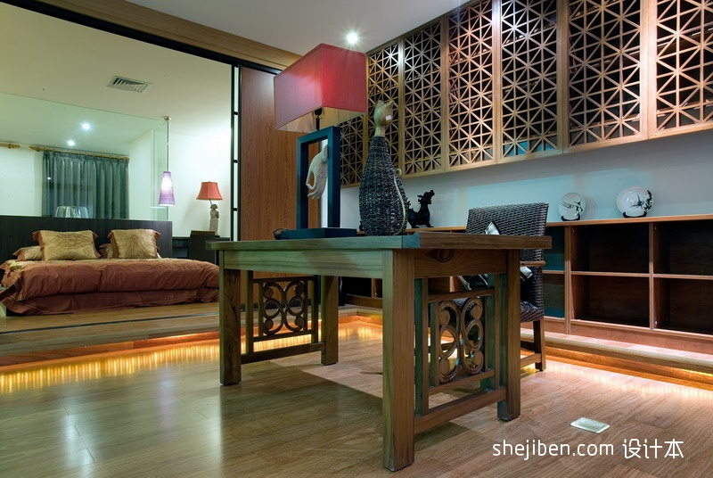 2013东南亚风格别墅卧室连书房椅子书桌书柜台灯装修效果图高清图片