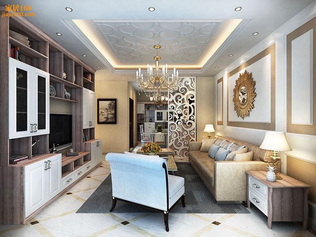 效果图欣赏:欧式客厅家具摆放效果图图片