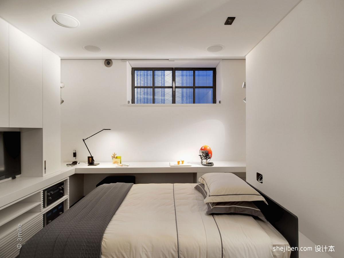 2013现代风格复式白色青年卧室带书房组合柜装修效果图欣赏 高清图片