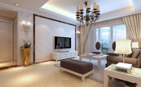 大户型客厅沙发茶几电视背景墙样板解决方案图片