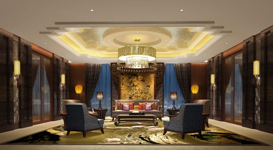 豪华中式风格酒店装修效果图图片
