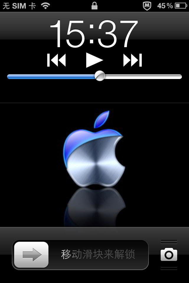 苹果4手机,在黑屏的前提下按一下home键唤醒锁屏界面时,发现时钟下方图片