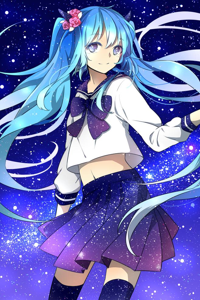 高285px的蓝发女孩图片