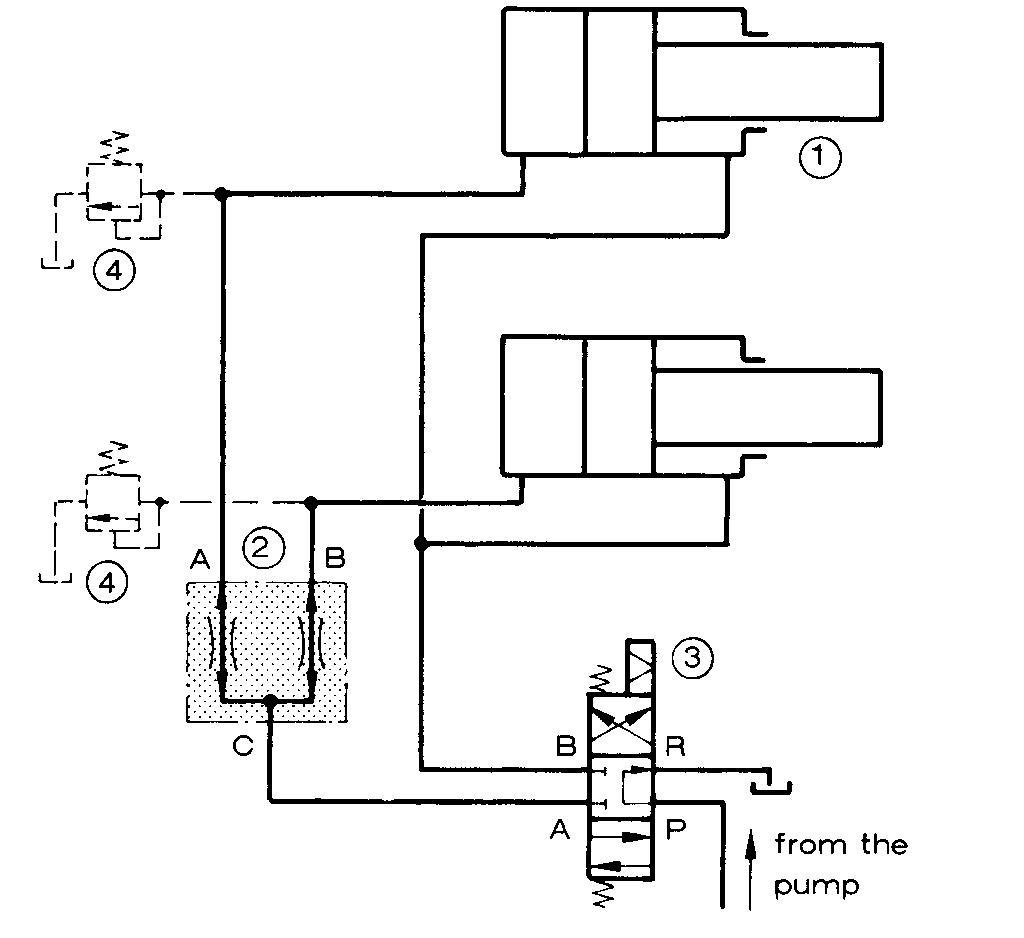 我想要一个叶片泵带动两个液压缸同时工作的液压原理图片