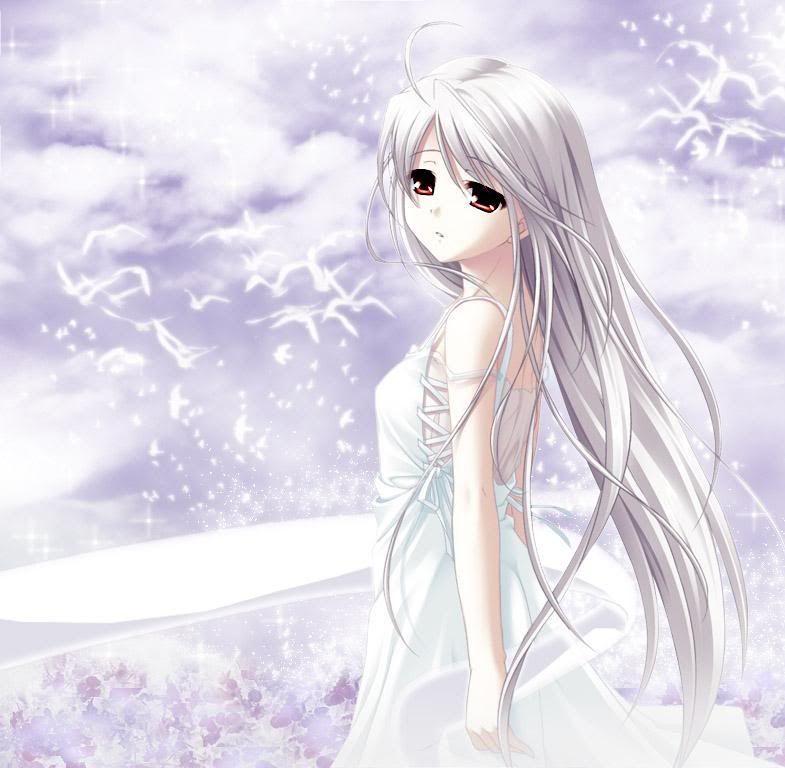 Картинки девушки аниме с голубыми глазами и волосами