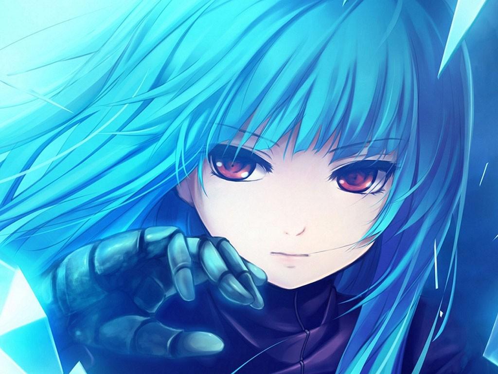 蓝色头发红眼睛的动漫女孩