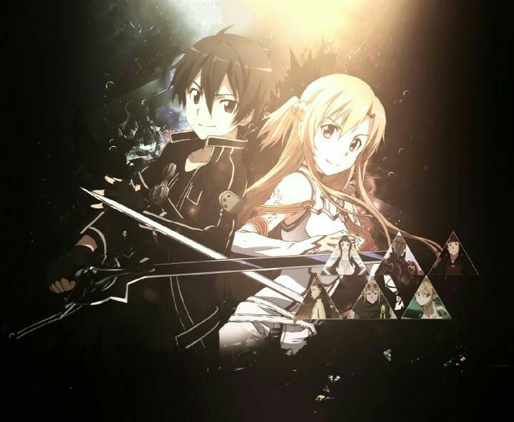 求刀剑神域一开头曲中最后桐人和亚丝娜的剑插在地上时的图片 要高清