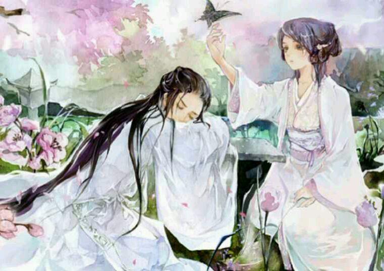 白衣女子和男子在树下图片