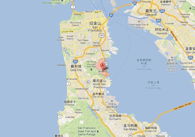美国加州布利斯班市 在旧金山和南旧金山中间