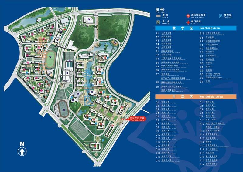求华南理工大学大学城校区图书馆的平面图