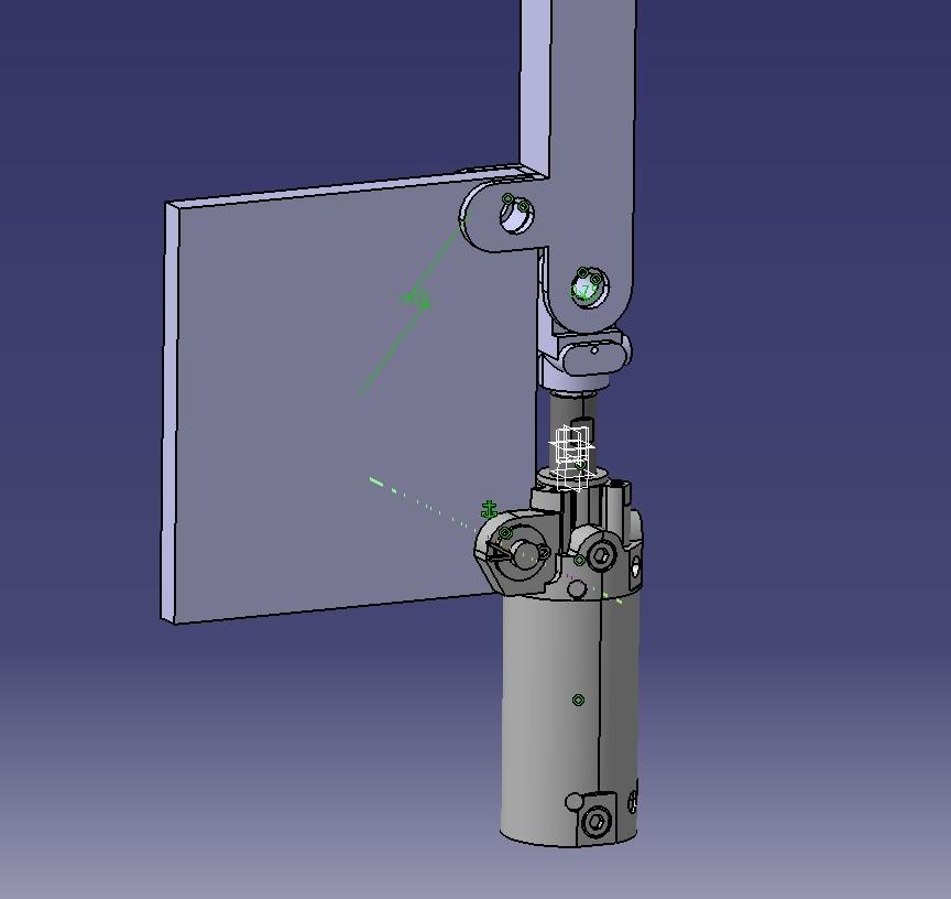 我用catia仿真这个连杆机构,固定的是左边这个板子,气缸行程50.图片