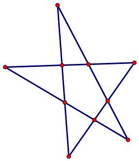 数学10个棋子,摆成5行,每行4个.求方法图片
