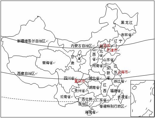 在空白的中国行政区划图中填入至少26个省级行政区的名称图片