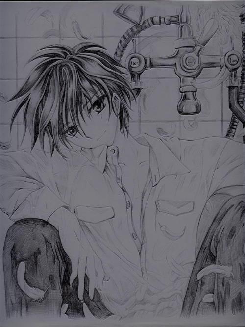 exo素描漫画,你能看出来是谁吗?   铅笔画得动漫人物,要女生高清图片