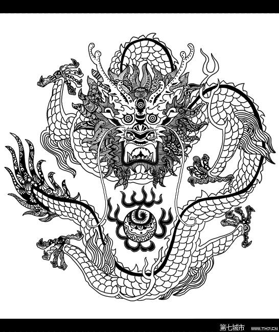 中国龙素描图图片展示_中国龙素描图相关图片下载