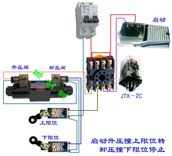 9 2011-05-02 求一个继电器和两一个行程开关来控制一个电磁阀的电路图片