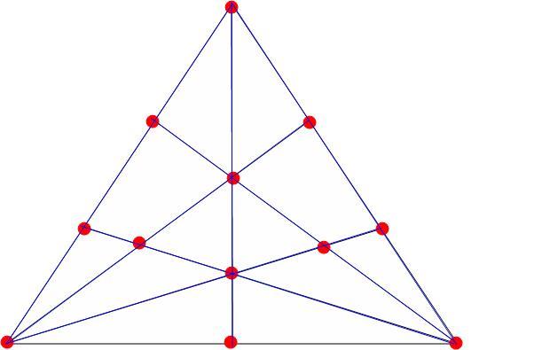 把12个棋子摆成7行,每行都要有4个棋子图片