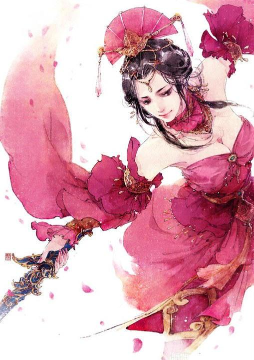 谁能发一张手绘古装紫衣女子的图片图片