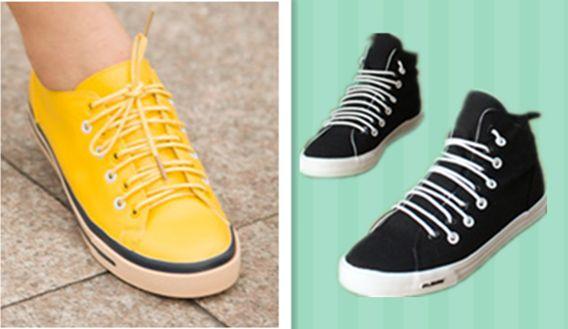 帆布鞋上面是 双排的环图片