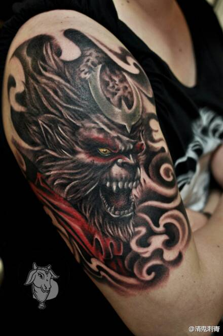男生背部超酷的满背五虎将纹身图片图片