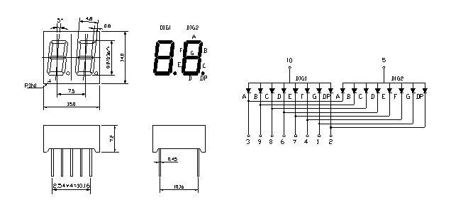 2位数码引脚图_二位led数码管的引脚个数及名称,用途