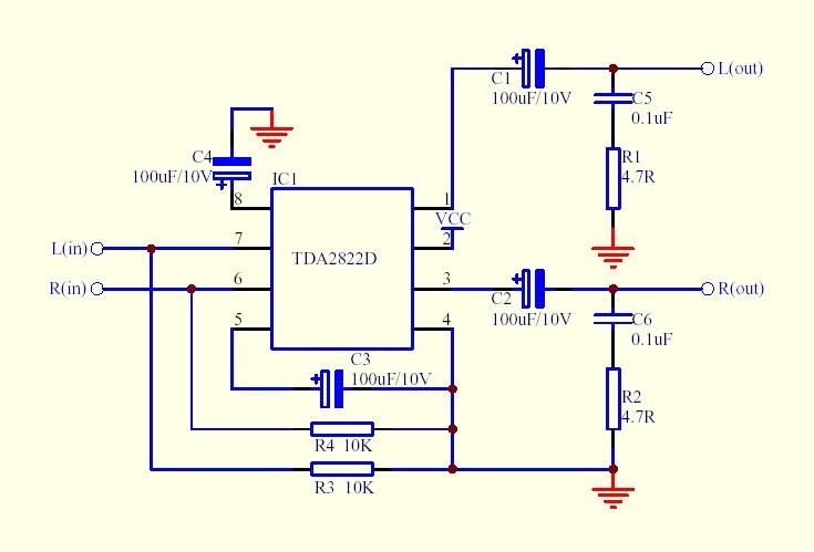 822芯片内部接线图 tda2822跟ka2209区别