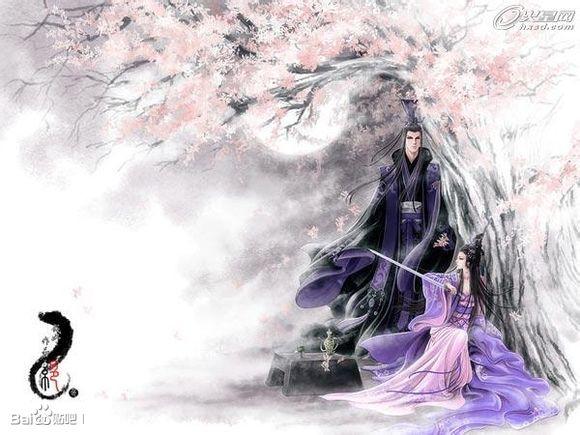 求古风紫衣男子,以及女子的美图图片