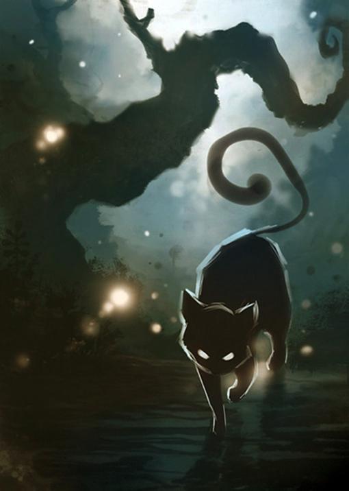 Black Cat Eyes Drawing