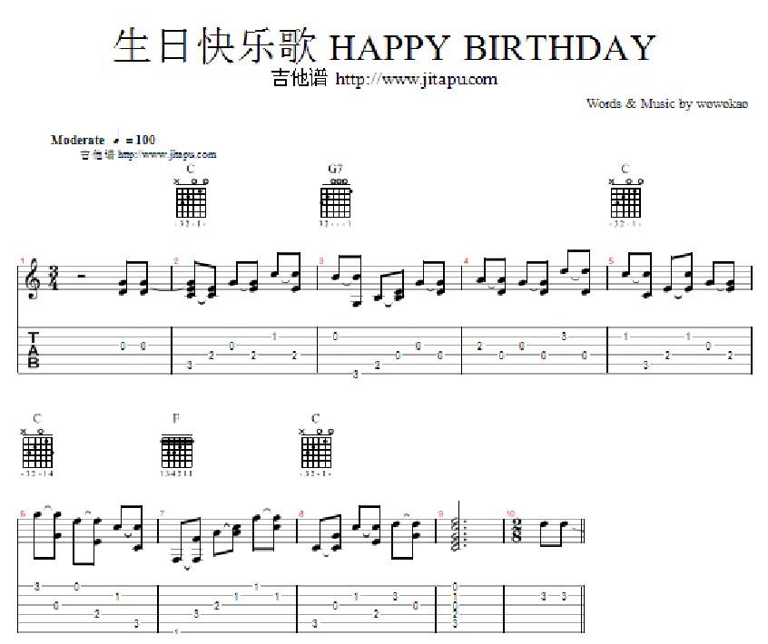 ... 网上教我《祝你生日快乐》吉他简谱。急啊_百度知道