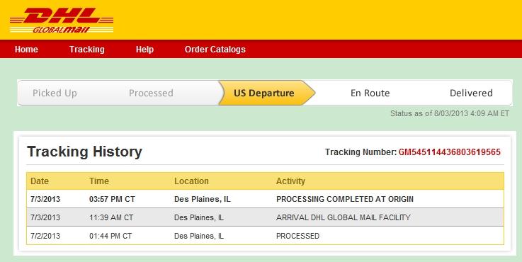 dhl global mail从美国寄来的包裹一个多月了都没有