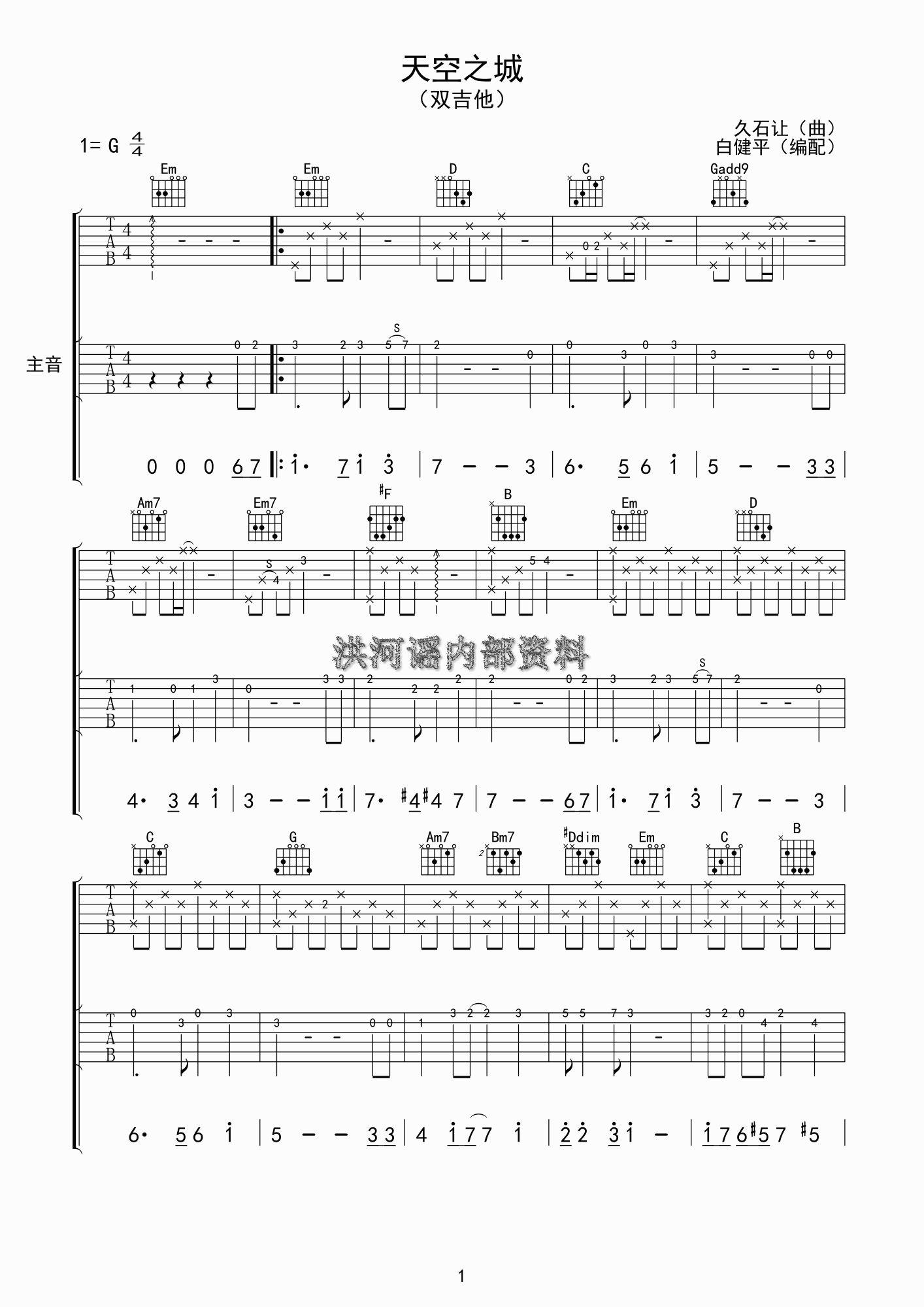 吉他六线谱和和弦的问题